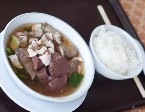 pork's entrails and blood jelly soup with rice