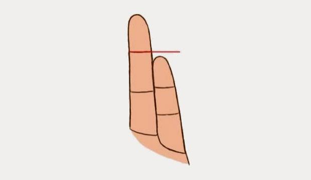 นิ้วก้อยไม่ถึงช่วงข้อบนของนิ้วนาง